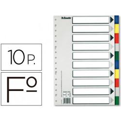 Separador esselte plastico juego de 10 separadores folio con 5 colores mult