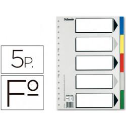Separador esselte plastico juego de 5 separadores folio con 5 colores multi
