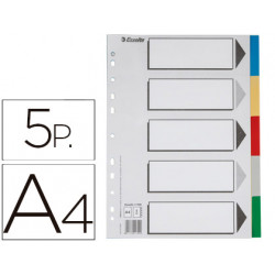 Separador esselte plastico juego de 5 separadores din a4 con 5 colores mult