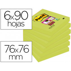 Bloc de notas adhesivas quita y pon postit super sticky 76x76 mm con 90 ho