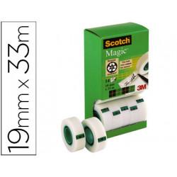 Cinta adhesiva scotch magic 19mm x 33 mt pack de 14 rollos con dispensador