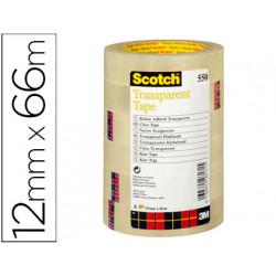 Cinta adhesiva scotch transparente 12mmx66 mt pack de 12