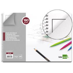 Bloc dibujo liderpapel lineal espiral 230x325mm 20 hojas 180 g/m2 con recua