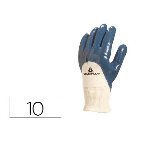 Guante deltaplus tratado en nitrilo dorso en algodon especial para trabajos