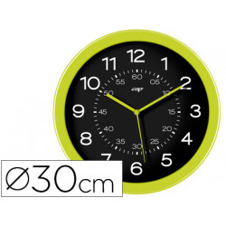 Reloj cep de pared plastico oficina redondo 30 cm de diametro color verde y