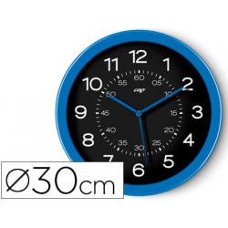 Reloj cep de pared plastico oficina redondo 30 cm de diametro color azul y