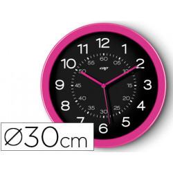 Reloj cep de pared plastico oficina redondo 30 cm de diametro color rosa y