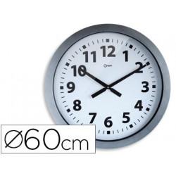 Reloj cep de pared plastico oficina redondo 60 cm de diametro color gris y