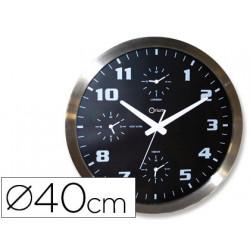 Reloj cep de pared cromado oficina redondo 40 cm de diametro con 4 horario