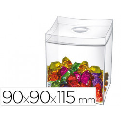 Caja para caramelos cep con tapa desmontable poliestireno transparente 90x9