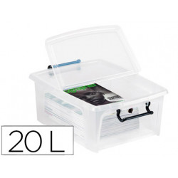 Contenedor plastico cep 20 litros 190x460x170 mm transparente con tapa y ci