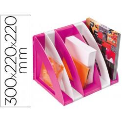 Revistero cep plastico modular con 5 compartimentos color blanco y rosa 300