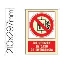 Pictograma syssa señal de no utilizar en caso de incendio en pvc fotolumini