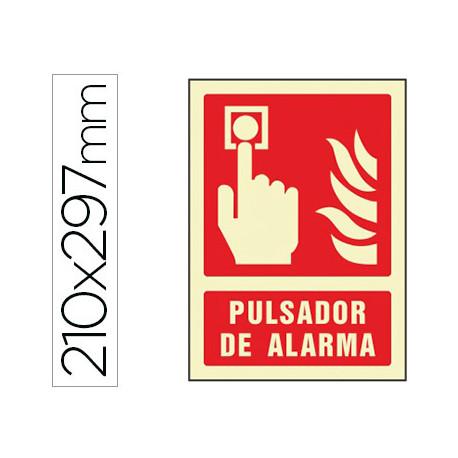 Pictograma syssa señal de pulsador de alarma en pvc fotoluminiscente 210x29