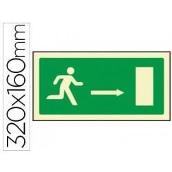 Pictograma syssa señal de salida emergencia flecha derecha en pvc fotolumin