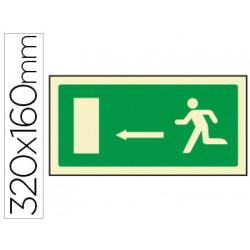 Pictograma syssa señal de salida emergencia flecha izquierda en pvc fotolum