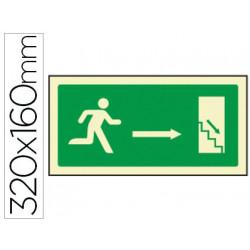 Pictograma syssa señal de salida emergencia derecha escalera bajando en pvc