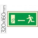 Pictograma syssa señal de salida emergencia izquierda escalera bajando en p