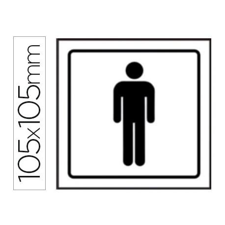 Pictograma syssa señal de aseos caballeros en pvc 105x105 mm