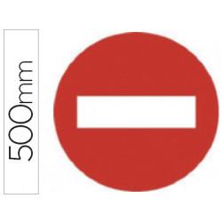 Pictograma syssa señal vial entrada prohibida en acero galvanizado 500 mm