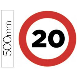 Pictograma syssa señal vial velocidad maxima 20km por horaen acero galvaniz