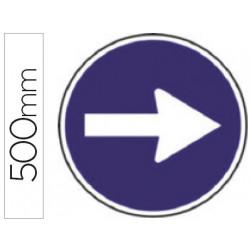 Pictograma syssa señal vial sentido obligatorio derecha en acero galvanizad