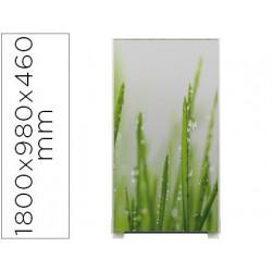 Mampara separadora easyscreen con marco aluminio y panel de tela decorado h