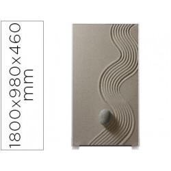 Mampara separadora easyscreen con marco aluminio y panel de tela decorado a