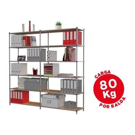 Estanteria fastpaperflow metalica 6 estantes 80 kg por estante 200x100x35