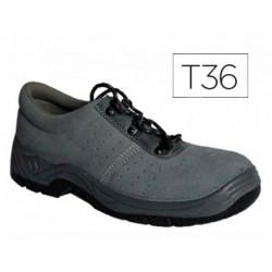 Zapatos faru de seguridad con puntera de acero cuero negro talla 36