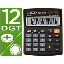 Calculadora citizen sobremesa sdc812 bn eco eficiente solar y a pilas 12 d