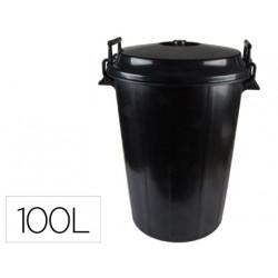 Cubo de basura negro con tapa para bolsas 85x105cm 100 litros