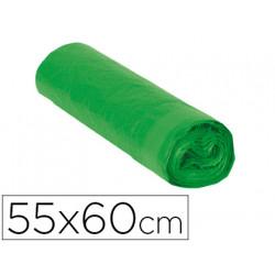 Bolsa basura domestica verde con autocierre 55 x 60 cm rollo de 15 bolsas