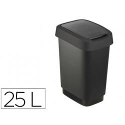 Papelera contenedor offisys plastico con tapa de balancin 2 posiciones 25 l