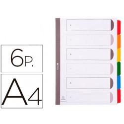 Separador exacompta cartulina juego de 6 separadores din a4 multitaladro co