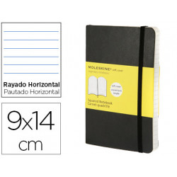 Libreta moleskine tapa blanda rayado horizontal 192 hojas color negro cierr