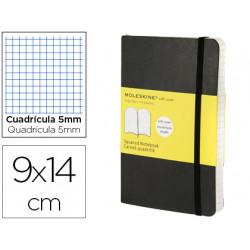 Libreta moleskine tapa blanda cuadro 5 mm 192 hojas color negro cierre con