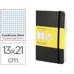Libreta moleskine tapa blanda cuadro 5 mm 240 hojas color negro cierre con