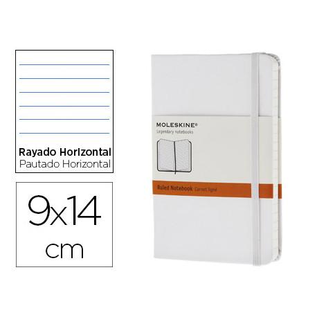 Libreta moleskine tapa dura rayado horizontal 192 hojas color blanco cierre