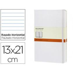 Libreta moleskine tapa dura rayado horizontal 240 hojas color blanco cierre