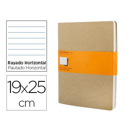 Libreta moleskine tapa dura rayado horizontal 120 hojas 16hojas desmontable