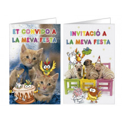 Tarjeta de invitacion arguval fantasia mascotas blister 8 unidades surtidas