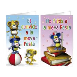 Tarjeta de invitacion arguval fantasia ratones blister 8 unidades surtidas