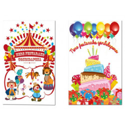 Tarjeta de invitacion arguval fiesta infantil bliste de 6 unidades euskera