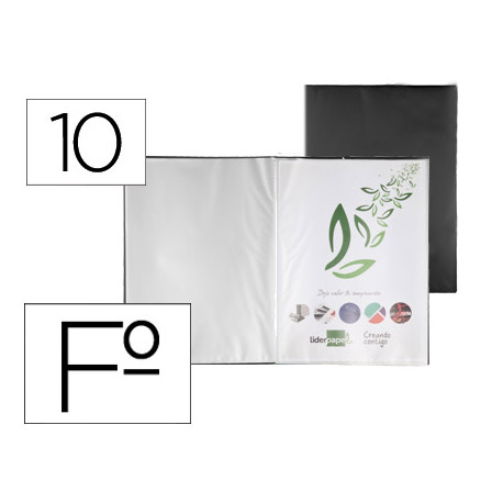 Carpeta liderpapel escaparate 10 fundas pvc folio negro