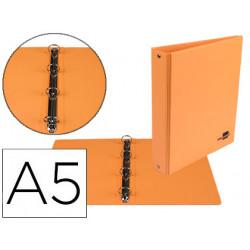 Carpeta de 4 anillas 25 mm redondas liderpapel a5 carton forrado pvc naranj