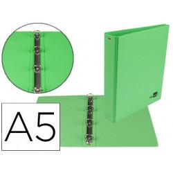 Carpeta de 4 anillas 25 mm redondas liderpapel a5 carton forrado pvc verde