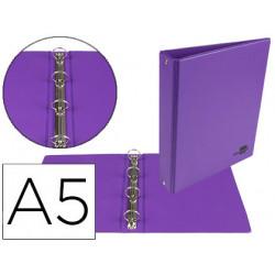 Carpeta de 4 anillas 25 mm redondas liderpapel a5 carton forrado pvc violet