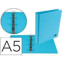 Carpeta de 4 anillas 25 mm redondas liderpapel a5 carton forrado pvc azul