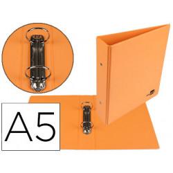 Carpeta de 2 anillas 40 mm redondas liderpapel a5 carton forrado pvc naranj